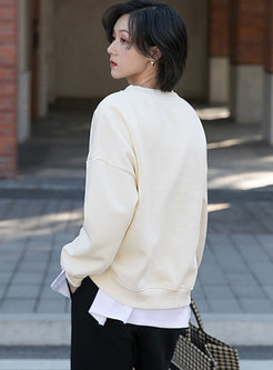 Casual Pullover Loose Sweatshirt With Chain