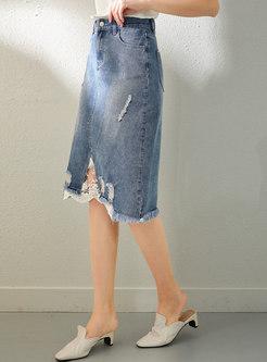 High Waisted Lace Patchwork Denim Skirt
