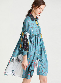Plus Size Single-breasted Print Shirt Dress