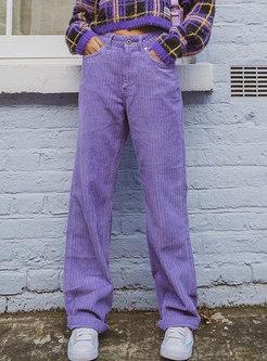 Casual High Waisted Corduroy Straight Pants