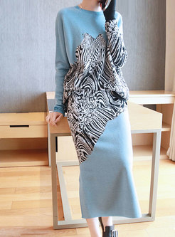 Print Pullover Loose Split Knitted Skirt Suits
