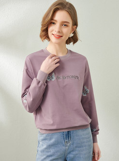 Crew Neck Embroidered Pullover Sweatshirt