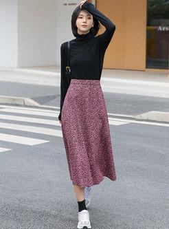 High Waisted A Line Print Long Skirt