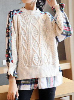Plaid Patchwork Pullover Cable-knit Sweater