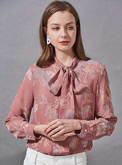 Bowknot Mock Neck Print Silk Blouse