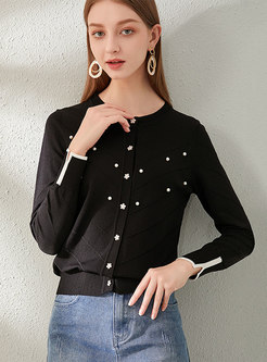 Long Sleeve Beaded Single-breasted Cardigan