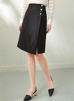 High Waisted Straight Knee-length Skirt