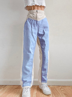 High Waisted Patchwork Corduroy Straight Pants
