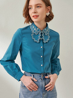 Blue Lapel Long Sleeve Embroidered Blouse