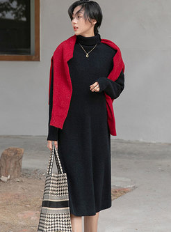 Turtleneck Solid Shift Knitted Midi Dress