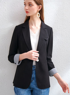 Striped Patchwork Long Sleeve Slim Blazer