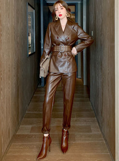 Notched PU Belted High Waisted Pant Suits