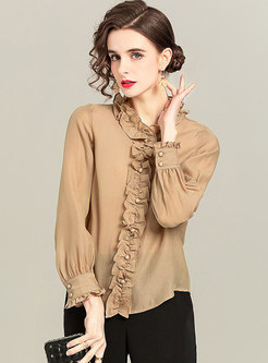 Ruffle Neck Long Sleeve Transparent Blouse