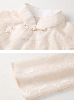 Mandarin Collar Shift Improved Cheongsam Dress