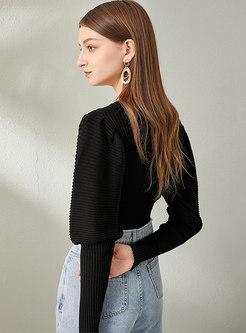 V-neck Puff Sleeve Single-breasted Cardigan