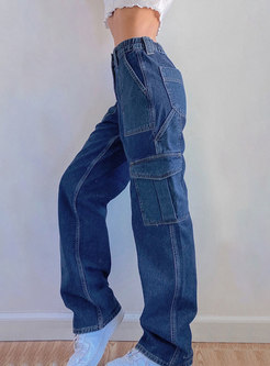 High Waisted Patchwork Denim Straight Pants