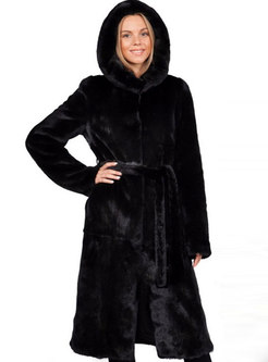 Hooded Knee-length Straight Faux Fur Coat