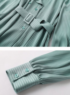 Double-breasted Ruffle Striped Chiffon Blouse