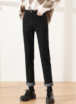 High Waisted Straight Long Denim Pants