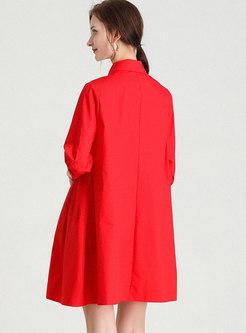 Half Sleeve Shift Plus Size Shirt Dress