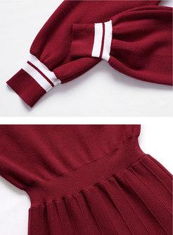 Color-blocked A Line Midi Sweater Dress
