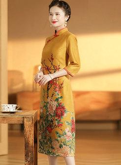 Mandarin Collar Embroidered Improved Cheongsam Dress