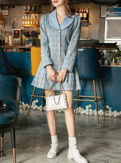 Plaid Lapel A Line Mini Dress