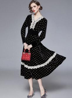 Polka Dot Lace Patchwork Velvet Midi Dress