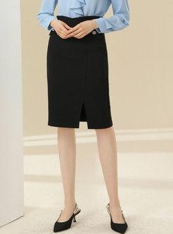 High Waisted Split Bodycon Skirt