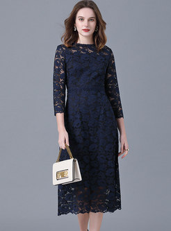 Plus Size 3/4 Sleeve Lace Cocktail Dress