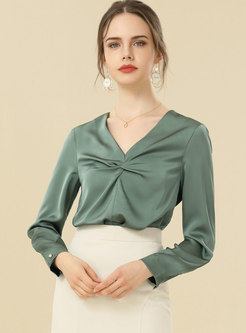 V-neck Ruched Pullover Chiffon Blouse