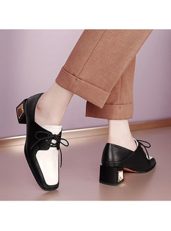 Color Block Chunky Heel Lace-up Shoes
