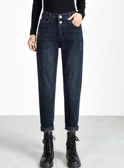 High Waisted Denim Harem Long Pants