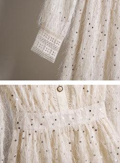 Sweet Openwork Fringed Sequin Skater Dress