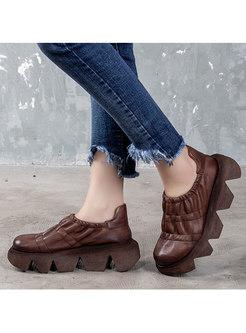 Retro Rounded Toe Platform Non-slip Loafers