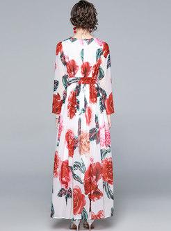Crew Neck Print Big Hem Chiffon Maxi Dress