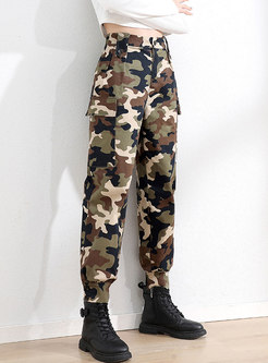 High Waisted Camouflage Casual Cargo Pants