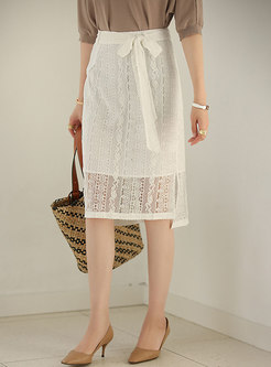 High Waisted Lace Openwork Straight Skirt