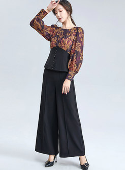 Crew Neck Print High Waisted Wide Leg Pant Suits