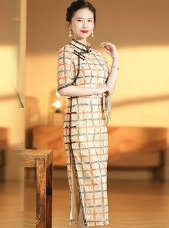Mandarin Collar Plaid Lace Cheongsam Dress