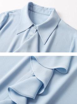 Solid Long Sleeve Ruffle Chiffon Blouse