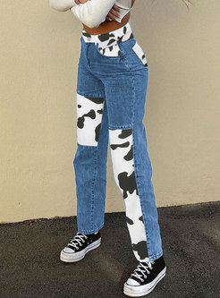 High Waisted Color Block Denim Straight Pants