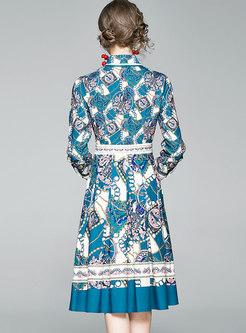 Retro Lapel Floral A Line Pleated Dress