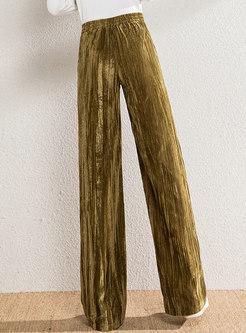 High Waisted Velvet Wide Leg Pants