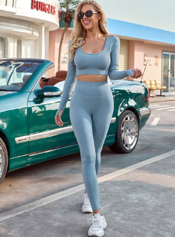 Scoop Neck Tight High Waisted Yoga Tracksuit