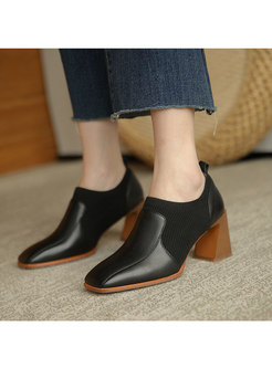 Square Toe Patchwork Chunky Heel Heels