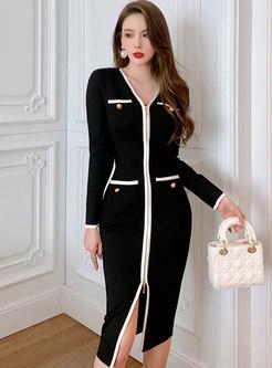 Color-blocked Long Sleeve Bodycon Dress