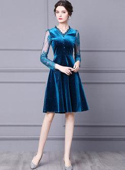 Lace Patchwork Velvet Skater Cocktail Dress