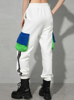 High Waisted Color-blocked Casual Joggers