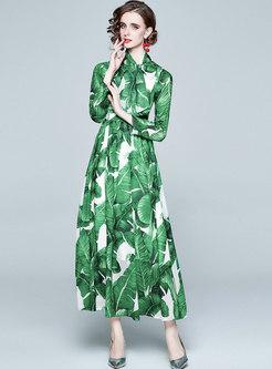 Long Sleeve Print Big Hem Chiffon Beach Dress